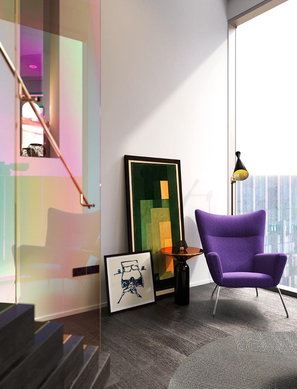 غرفة معيشة مودرن 1ا1 جرأة وروعة الألوان في تصميم وحدات سكنية عصرية