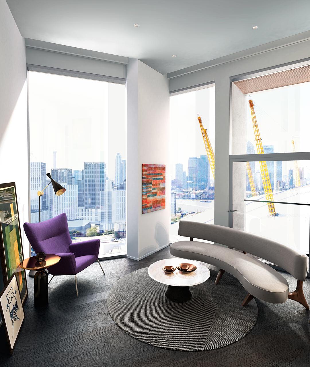 غرفة معيشة مودرن 13 جرأة وروعة الألوان في تصميم وحدات سكنية عصرية