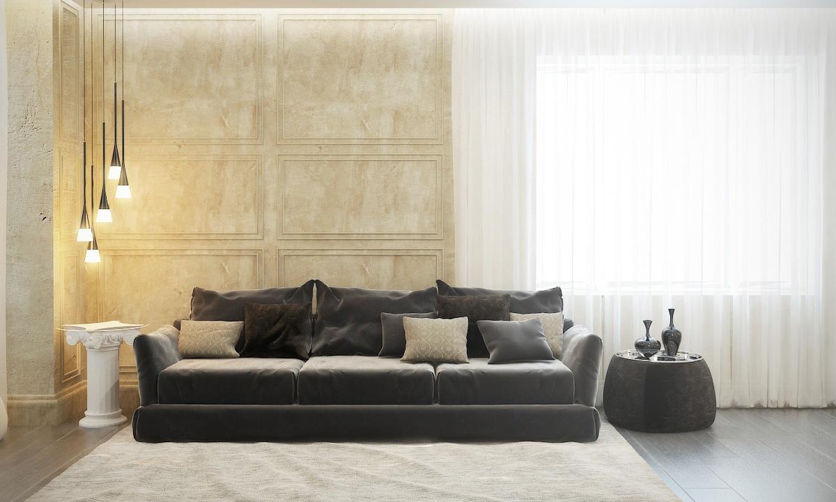 غرفة معيشة مودرن 3 منزل عصري يجمع الديكور المودرن بلمسات من القصور الإغريقية
