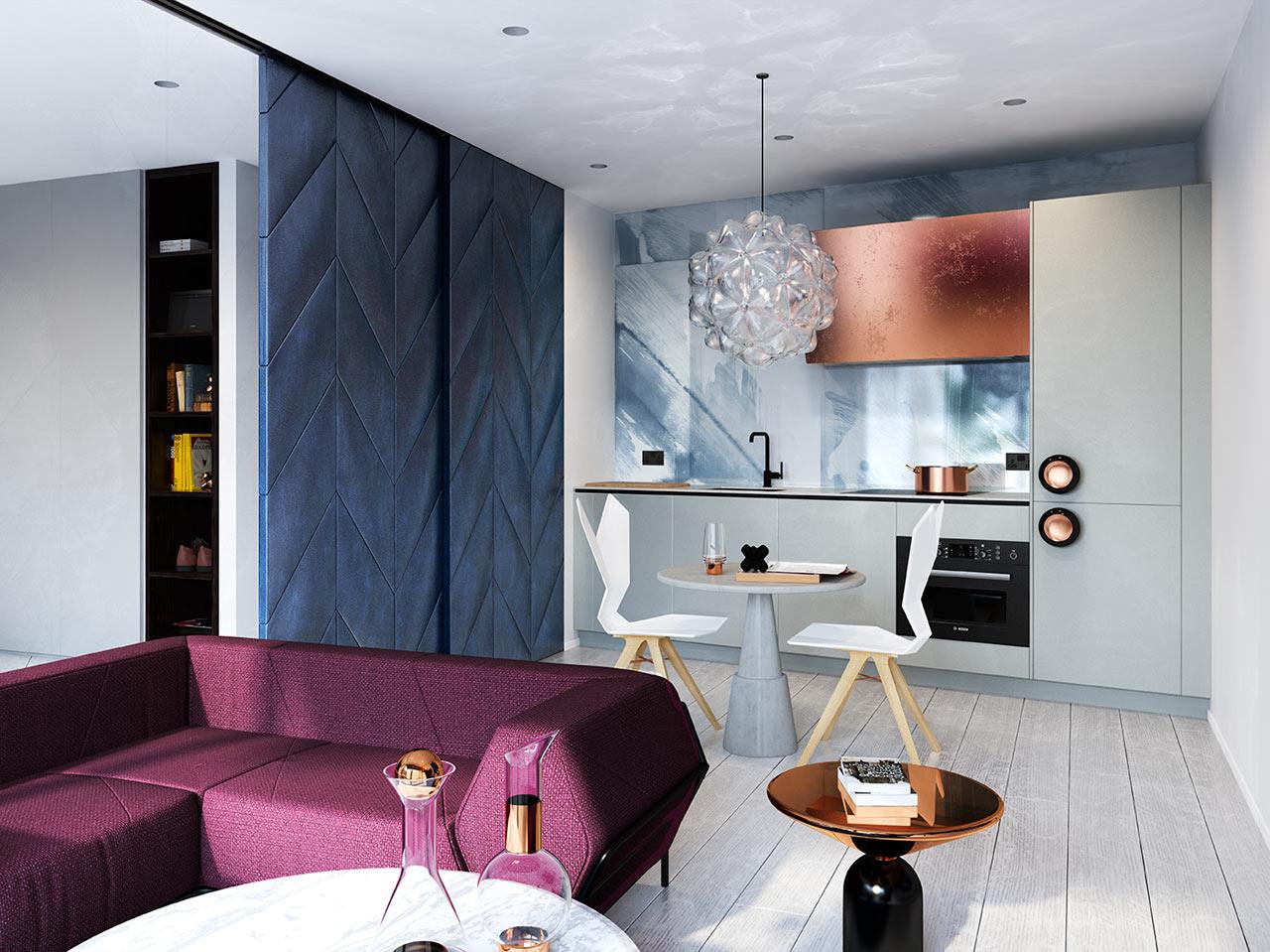 غرفة معيشة ومطبخ مودرن جرأة وروعة الألوان في تصميم وحدات سكنية عصرية