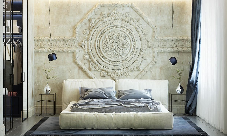 غرفة نوم أنيقة 1 منزل عصري يجمع الديكور المودرن بلمسات من القصور الإغريقية