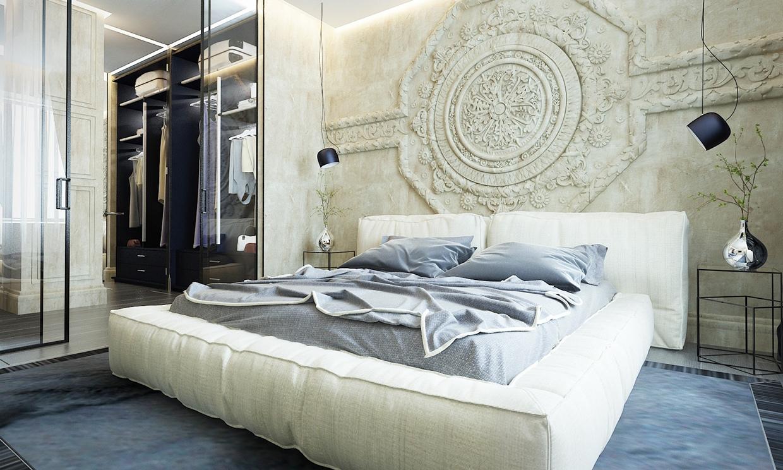غرفة نوم أنيقة 2 منزل عصري يجمع الديكور المودرن بلمسات من القصور الإغريقية