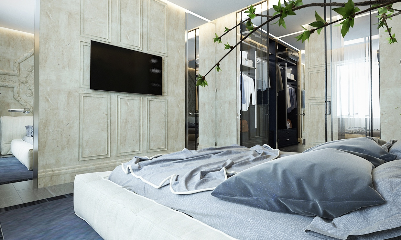 غرفة نوم أنيقة 3 منزل عصري يجمع الديكور المودرن بلمسات من القصور الإغريقية