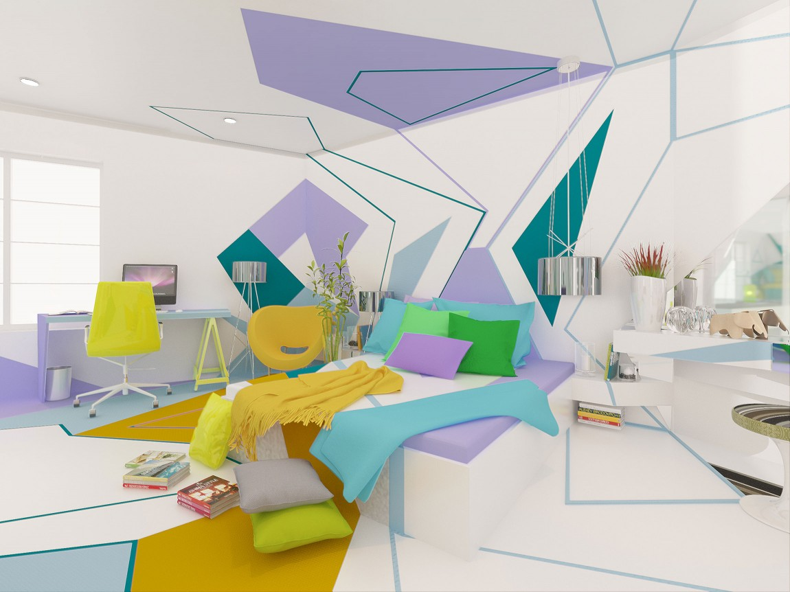 غرفة نوم بديكورات هندسية 1ب تصميمات منازل مدهشة بديكورات هندسية جريئة