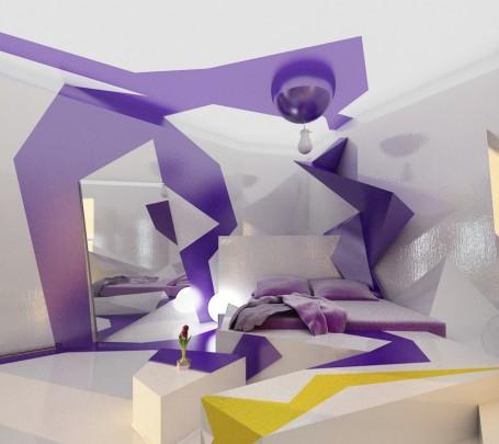 غرفة نوم بديكورات هندسية 2
