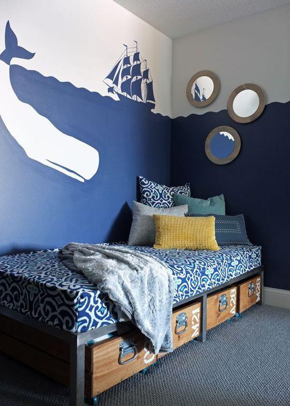 غرفة نوم زرقاء