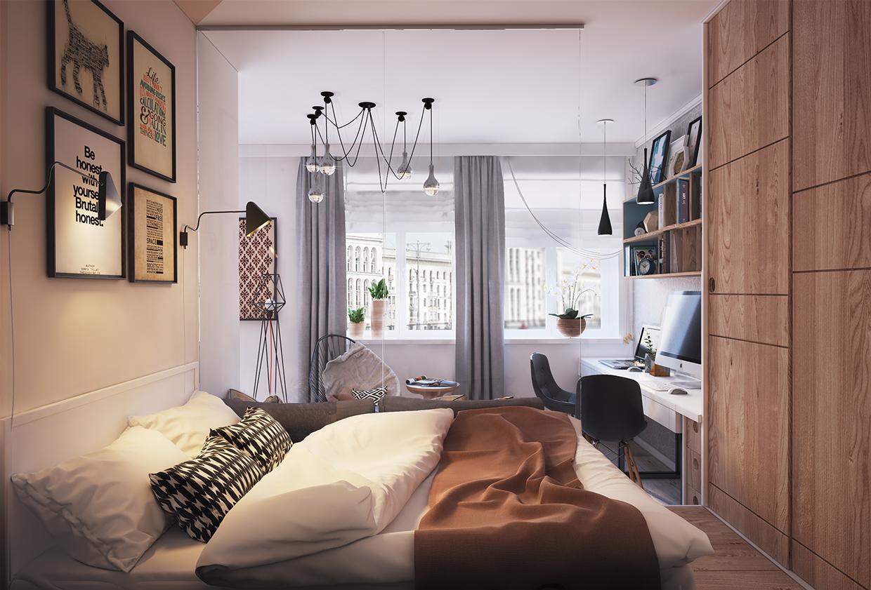 غرفة نوم صغيرة1 أفكار ممتازة للمساحات الصغيرة في تصميم شقة سكنية رائعة