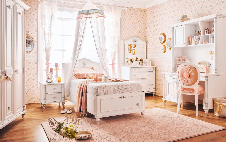 غرفة نوم فتيات رومانسية 2 1500x938 الأناقة والرومانسية في غرف نوم فتيات رائعة الجمال