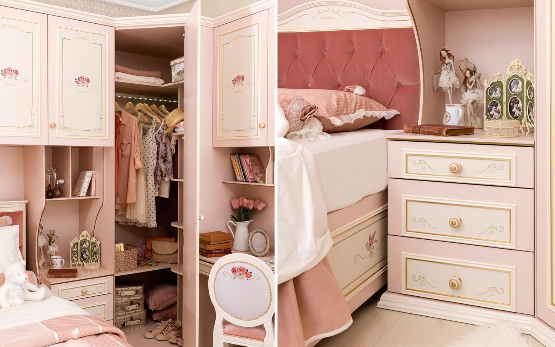 غرفة نوم فتيات رومانسية 3ب 1500x938 الأناقة والرومانسية في غرف نوم فتيات رائعة الجمال