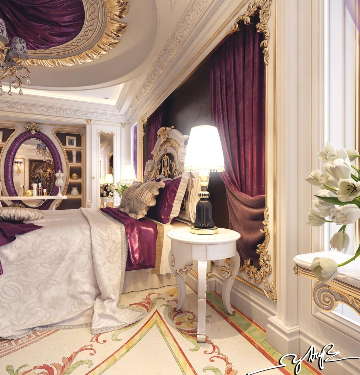 غرفة نوم كلاسيكية فخمة 4ا تصميمات غرف نوم مبهرة تليق بالقصور