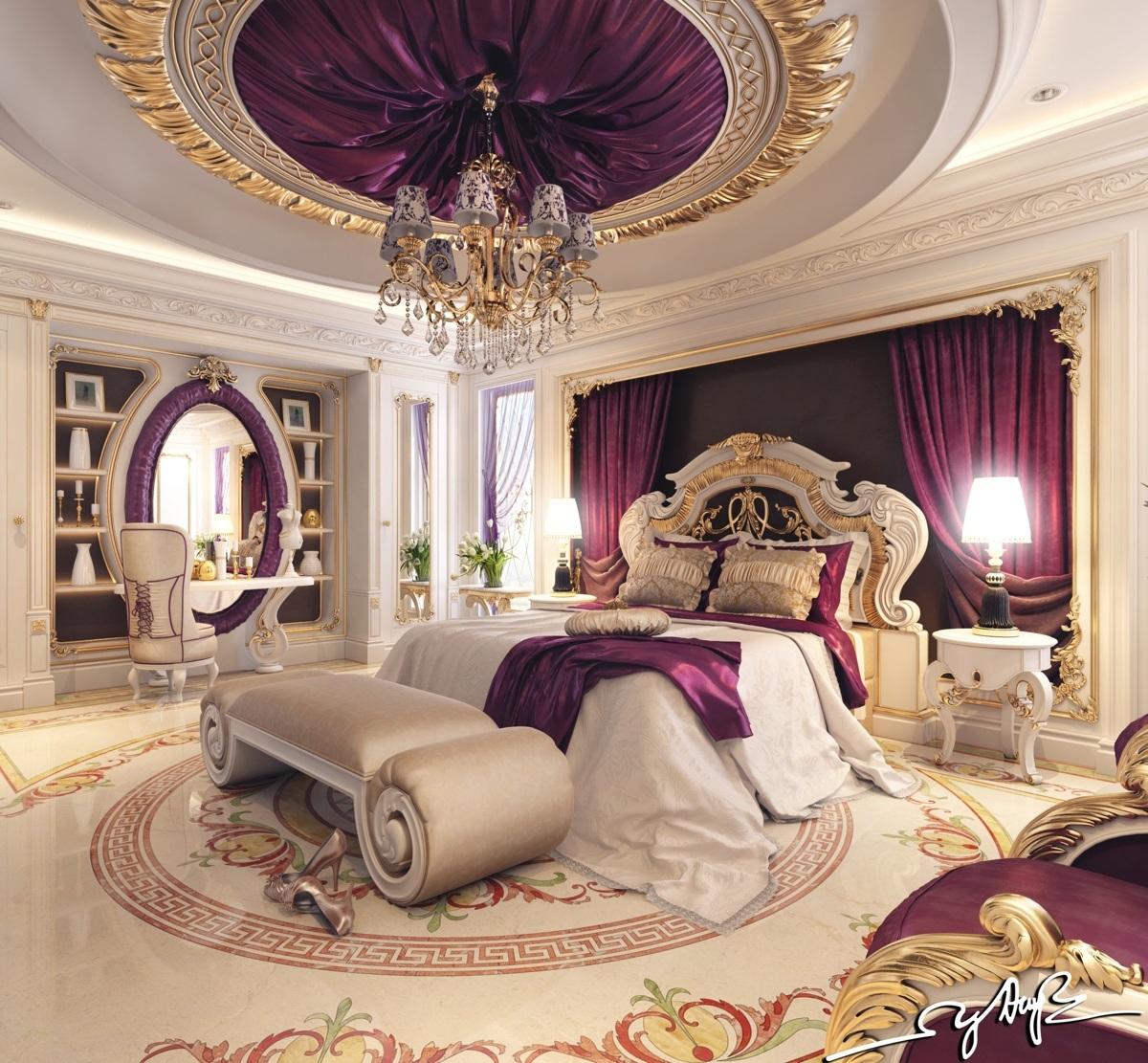 غرفة نوم كلاسيكية فخمة 4 تصميمات غرف نوم مبهرة تليق بالقصور