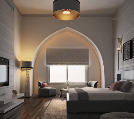 غرفة نوم مودرن بديكورات عربية 1ا