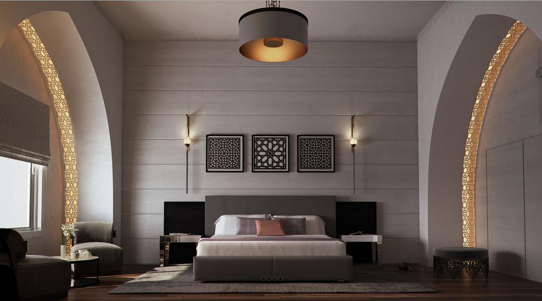 غرفة نوم مودرن بديكورات عربية 1 10 غرف نوم مودرن بلمسات مبهرة من التراث العربي
