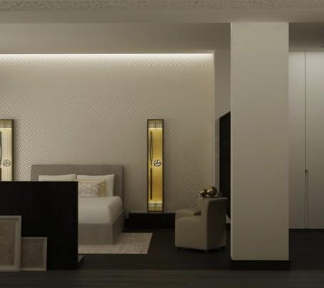 غرفة نوم مودرن بديكورات عربية 2