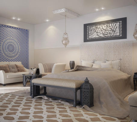 غرفة نوم مودرن بديكورات عربية 3