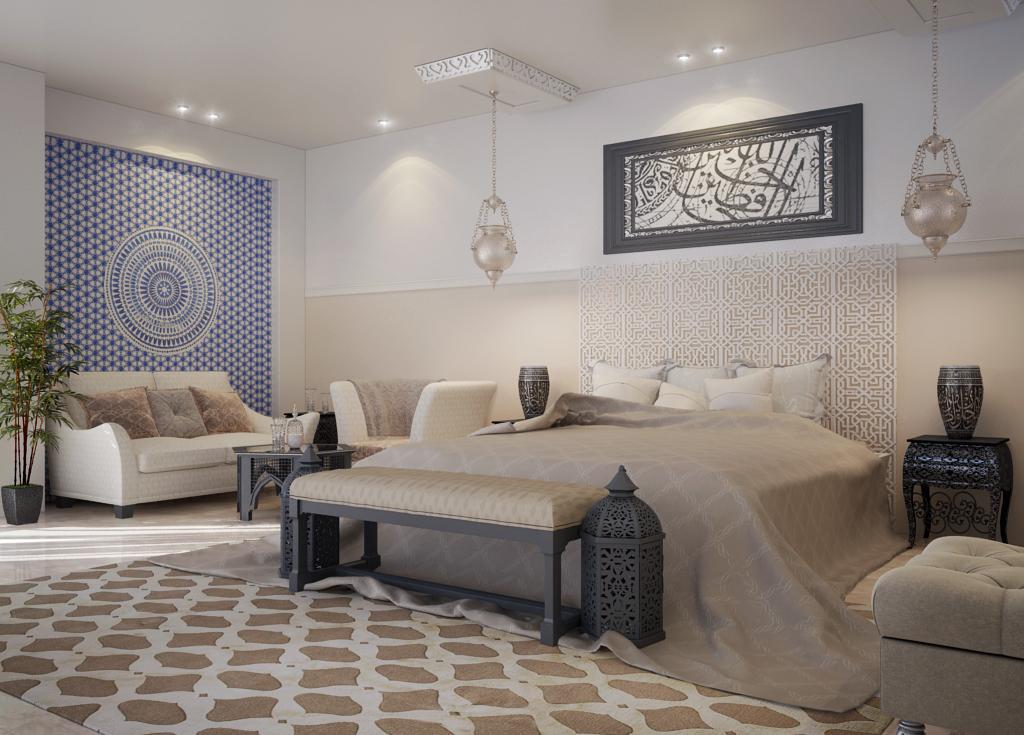 غرفة نوم مودرن بديكورات عربية 3 10 غرف نوم مودرن بلمسات مبهرة من التراث العربي