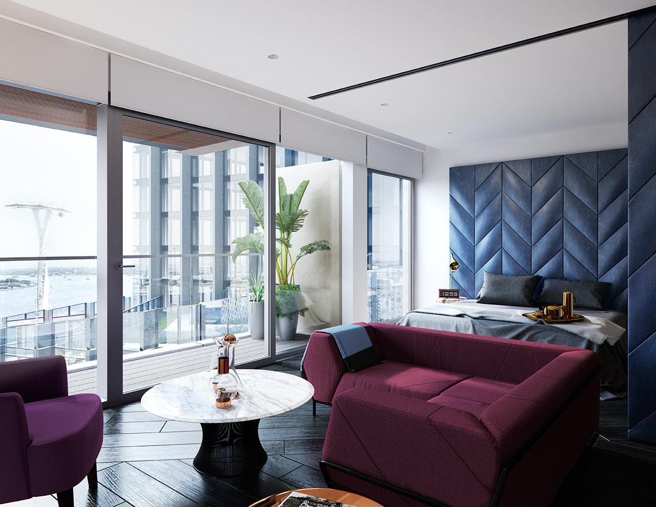 غرفة نوم مودرن 2ا جرأة وروعة الألوان في تصميم وحدات سكنية عصرية
