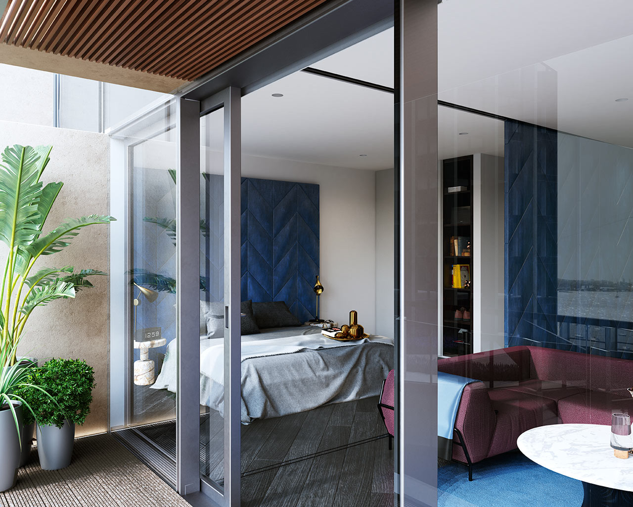 غرفة نوم مودرن 2ب جرأة وروعة الألوان في تصميم وحدات سكنية عصرية