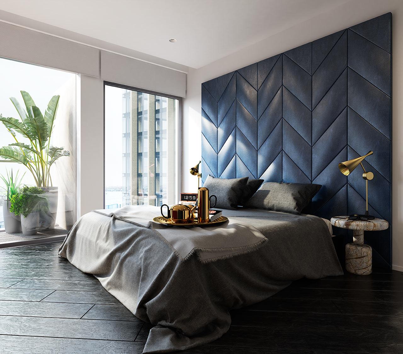 غرفة نوم مودرن 21 جرأة وروعة الألوان في تصميم وحدات سكنية عصرية