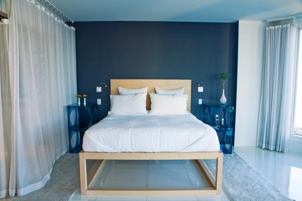 غرف نوم مودرن زرقاء ديكورات منازل رائعة من الداخل