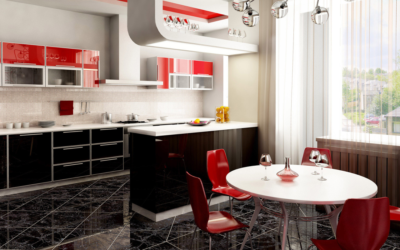 مطبخ أحمر 1 الألوان الجريئة... موضة تصاميم مطابخ 2016