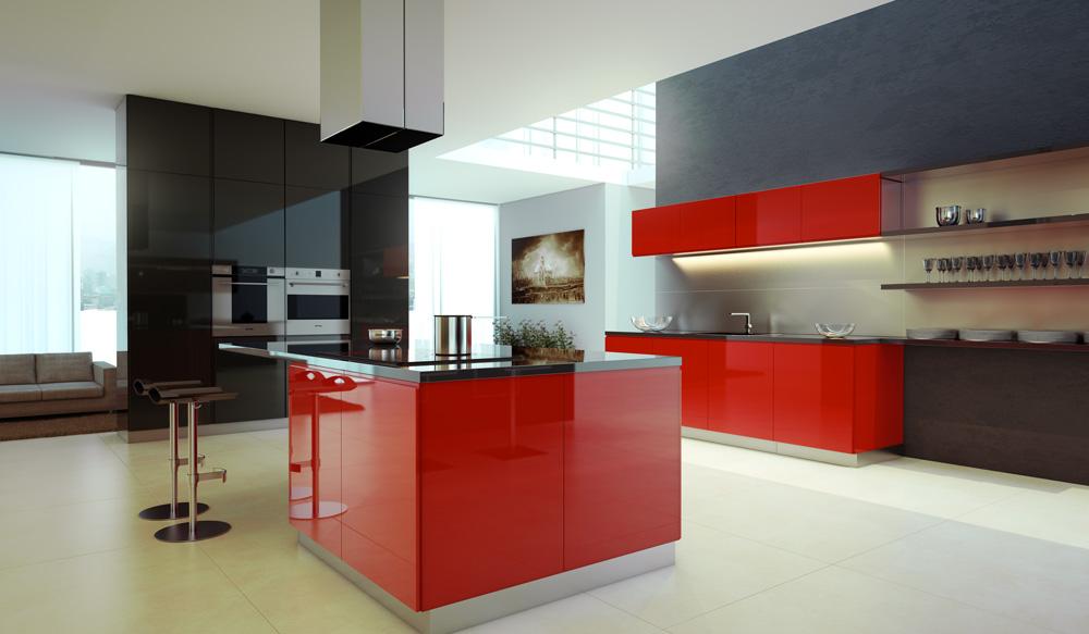 مطبخ أحمر 2 الألوان الجريئة... موضة تصاميم مطابخ 2016