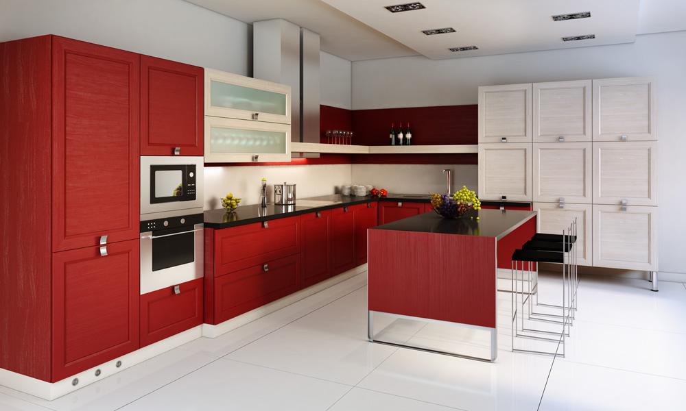 مطبخ أحمر 3 الألوان الجريئة... موضة تصاميم مطابخ 2016