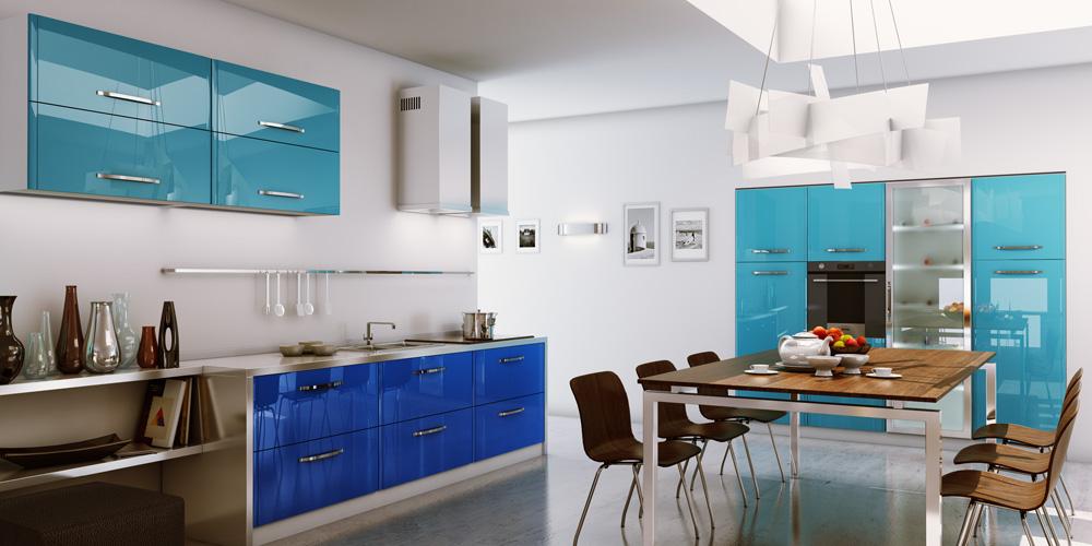 مطبخ أزرق 1 الألوان الجريئة... موضة تصاميم مطابخ 2016