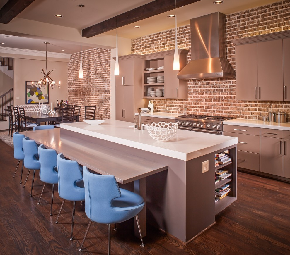 مطبخ بحوائط حجرية 10 الحوائط الحجرية.. لمسة فخامة وتميز في المطبخ