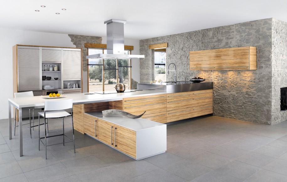 مطبخ بحوائط حجرية 2 الحوائط الحجرية.. لمسة فخامة وتميز في المطبخ