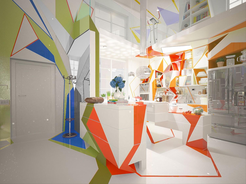 مطبخ بديكورات هندسية 1ا 1500x1125 تصميمات منازل مدهشة بديكورات هندسية جريئة