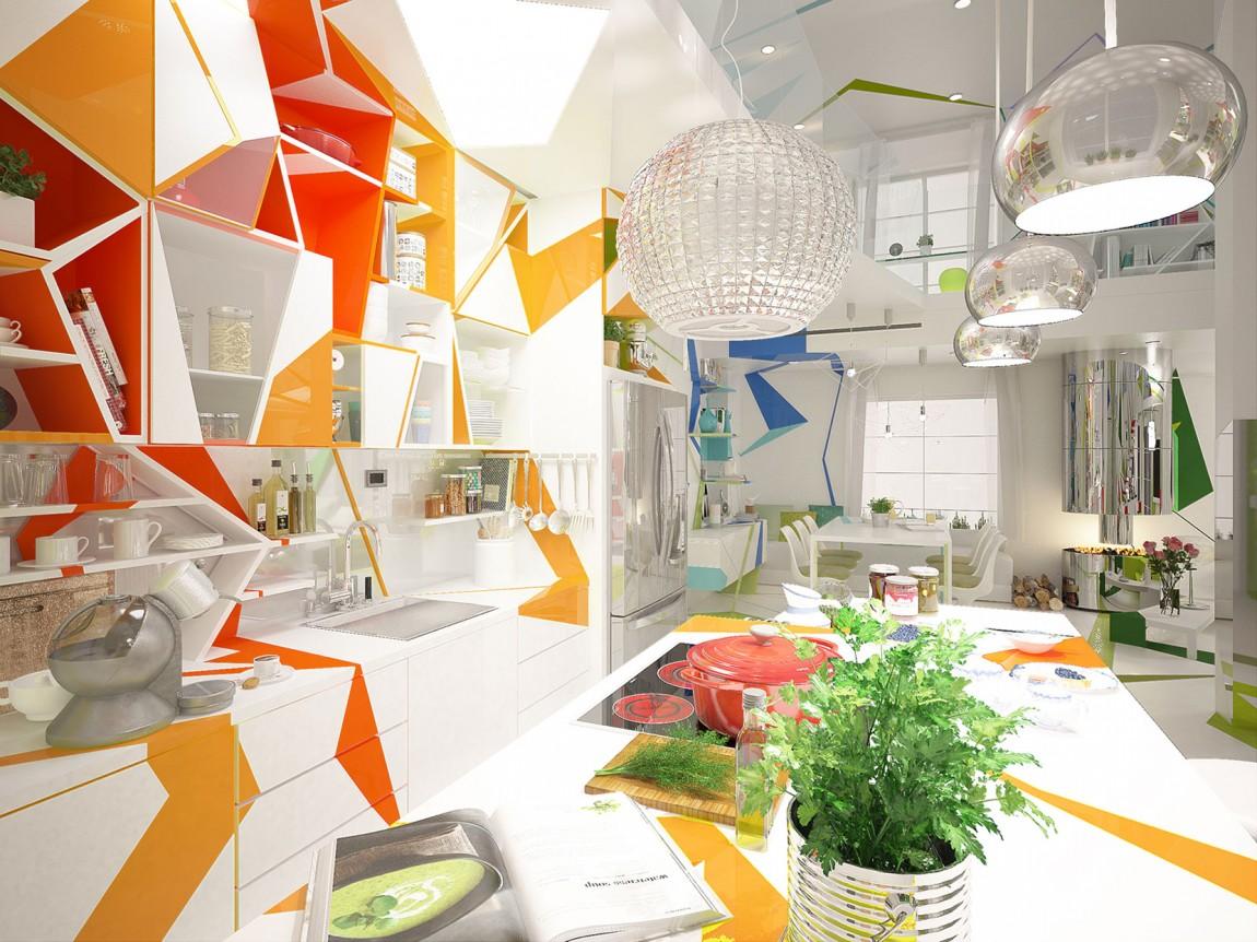 مطبخ بديكورات هندسية 1ب تصميمات منازل مدهشة بديكورات هندسية جريئة
