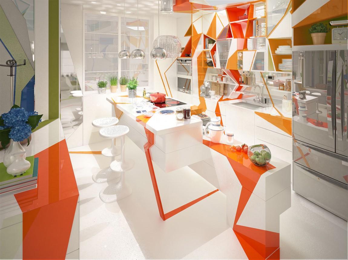 مطبخ بديكورات هندسية 1 تصميمات منازل مدهشة بديكورات هندسية جريئة