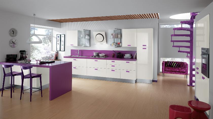 مطبخ بنفسجي 2 الألوان الجريئة... موضة تصاميم مطابخ 2016