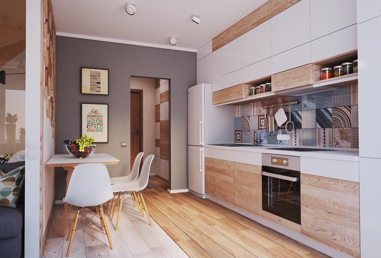 مطبخ صغير 1 أفكار ممتازة للمساحات الصغيرة في تصميم شقة سكنية رائعة