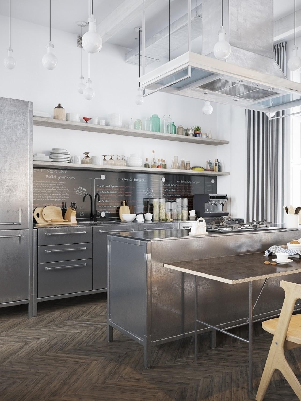 مطبخ مودرن 1 1125x1500 الأبيض والرمادي.. مزيج أنيق في منزل عصري رائع.
