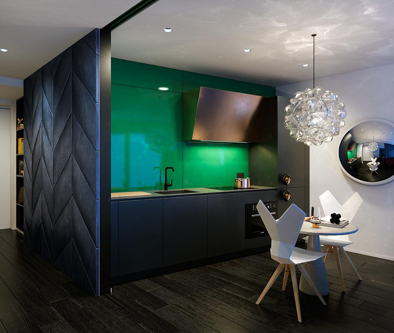 مطبخ مودرن 12 جرأة وروعة الألوان في تصميم وحدات سكنية عصرية