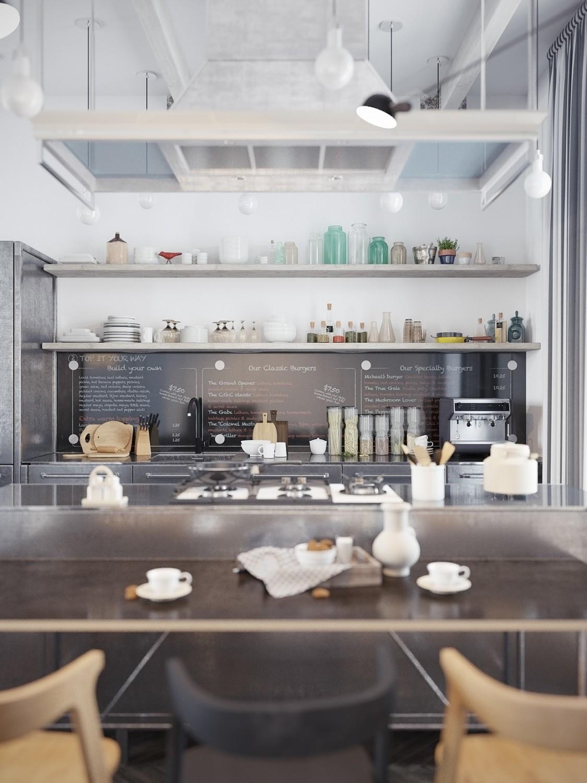 مطبخ مودرن 2 1125x1500 الأبيض والرمادي.. مزيج أنيق في منزل عصري رائع.