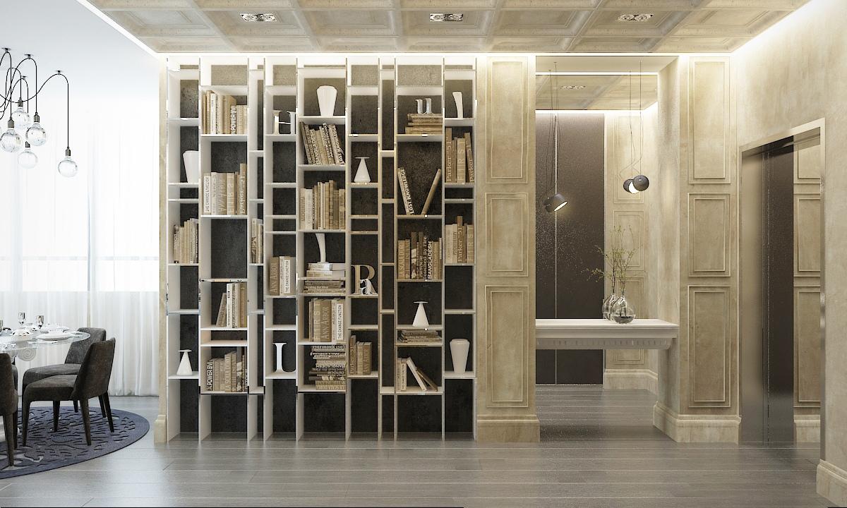 مكتبة عصرية منزل عصري يجمع الديكور المودرن بلمسات من القصور الإغريقية