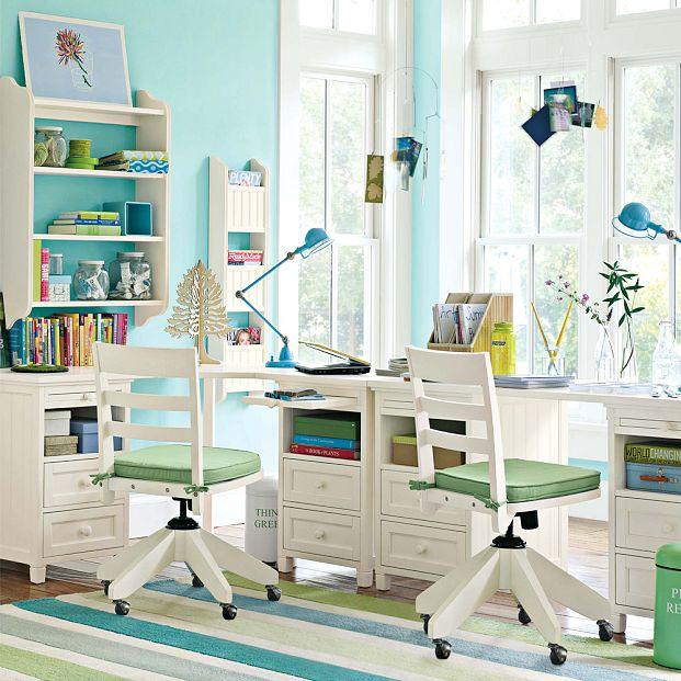 مكتب لشخصين 1 تصميمات لمساحات عمل تشجع طفلك على المذاكرة