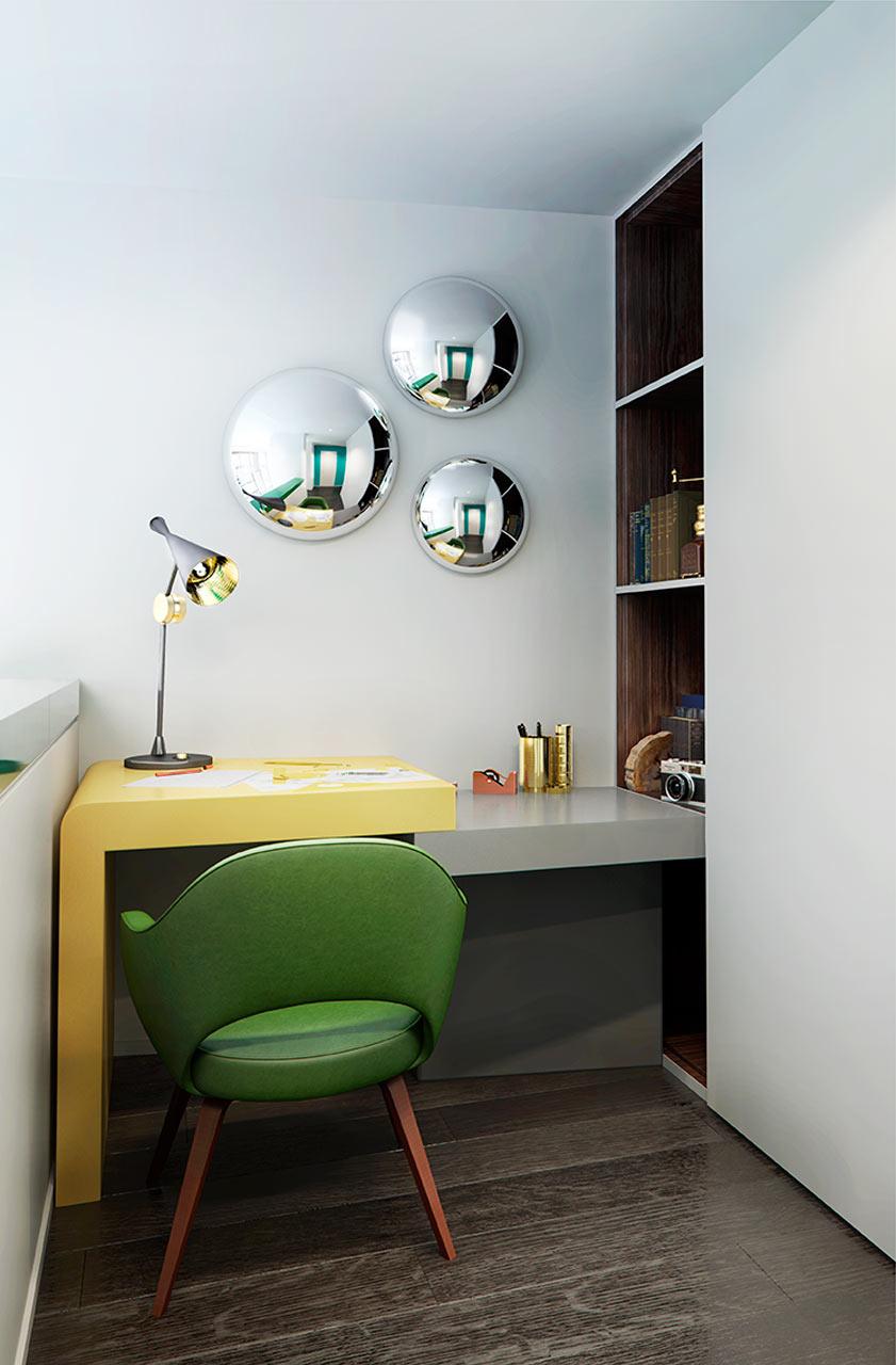 مكتب مودرن جرأة وروعة الألوان في تصميم وحدات سكنية عصرية