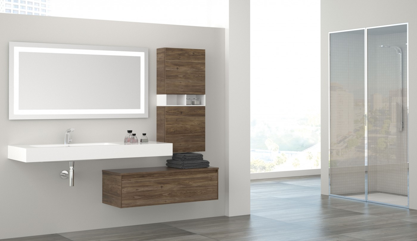 1 حمام بخزانات خشبية 1 حمام بخزانات خشبية