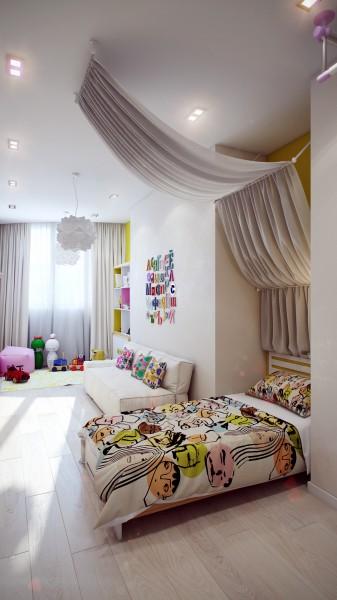 13 Modern white kids room 337x600 اجمل الوان تناسب غرف نوم الاطفال