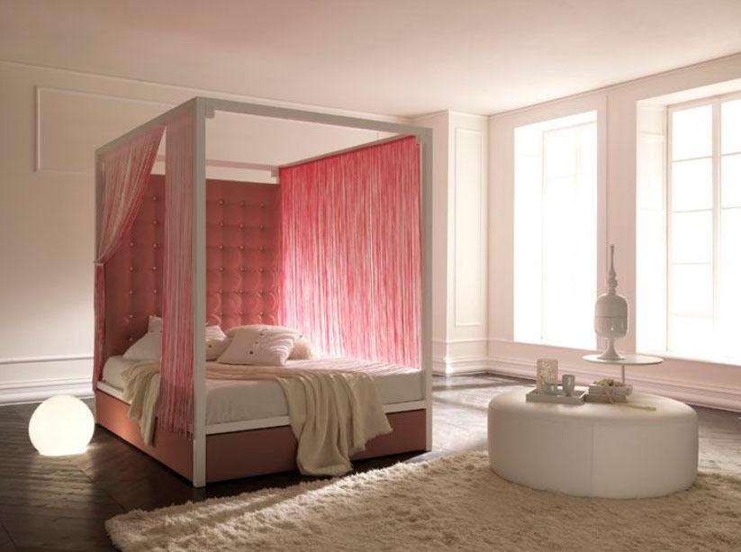7 سرير بستائر وردية تصميمات حديثة ومتميزة للسرير ذي الأعمدة