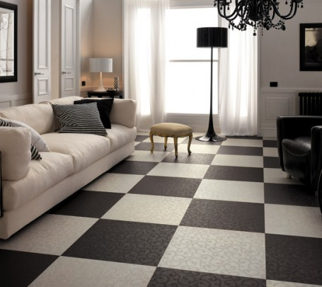 Black-white-living-room-checkered-floor-tiles