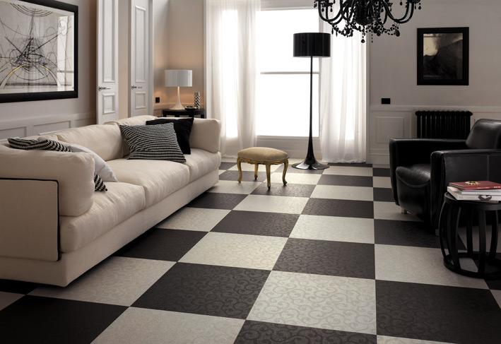 %name Black white living room checkered floor tiles