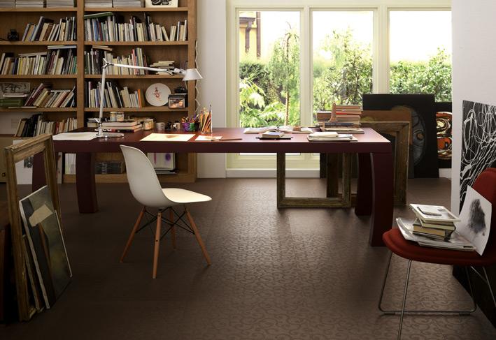 %name Brown patterned ceramic floor tiles home office