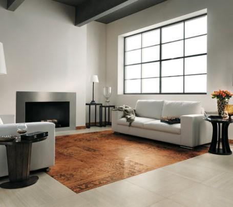 Brown-white-modern-living-room-tiled-floor