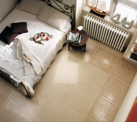 Cream-white-bedroom-floor-tile-border