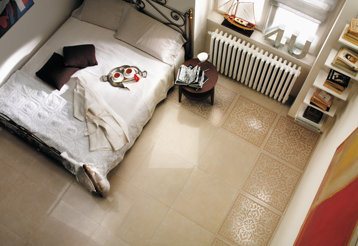 %name Cream white bedroom floor tile border